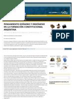 PENSAMIENTO EXÓGENO Y ENDÓGENO EN LA FORMACIÓN CONSTITUCIONAL ARGENTINA