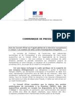 20110321 - Communiqué - Avis du Conseil d'état