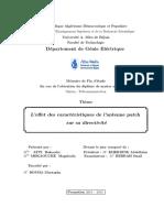 L'Effet Des Caractéristiques de l'Antenne Patch Sur Sa Directivité