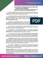 Tarjeta Informativa 056. Sinaloa Define Los Criterios de Evaluación Para El Cierre Del Ciclo Escolar 2020-2021