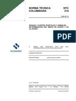Ntc218 Grasas y Aceites Vetales y Animales. Determinacion Del Indice de Acidez y de La Acidez