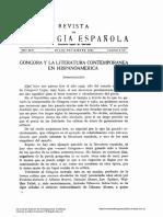 Gongora y La Literatura Contemporanea en Hispanoam