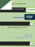 GERENCIAMENTO DE OBRAS  AULA 11  26-05-21