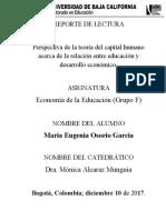 REPORTE DE LECTURA No 4 ECONOMIA DE LA EDUCACION