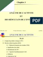 Chapitre 3 - Analyse de l'activité et des résultats de l'entreprise