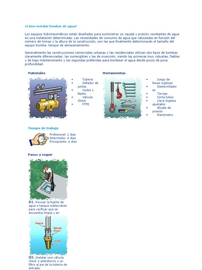 Cómo instalar bombas de agua