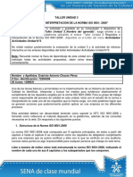 Taller Unidad 3 Requisistos e interpretacion de la norma ISO 9001
