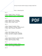 FIFA World Cup 2010 match schedule