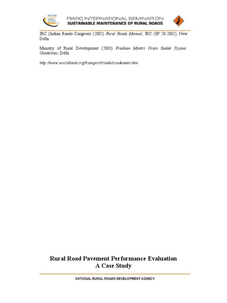 16 rural roads pavement performance eval road surface road rh scribd com irc sp 20 rural road manual Globe SP20