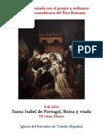 8 de Junio.- Santa Isabel de Portugal, reina y viuda. Propio y Ordinario de la santa misa
