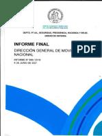 Informe Final 899-19 Dirección General de Movilización Nacional Proceso de Inscripción, Custodia y Destrucción de Armas
