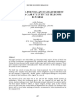 DESIGNING A PERFORMANCE MEASUREMENT SYSTEM- A CASE STUDY IN THE TELECOM BUSINESS