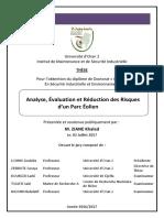 Thèse- Analyse, Évaluation Et Réduction Des Risques d'Un Parc Eolien
