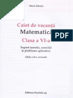 Caiet de Vacanta. Matematica - Clasa 6 - Maria Zaharia