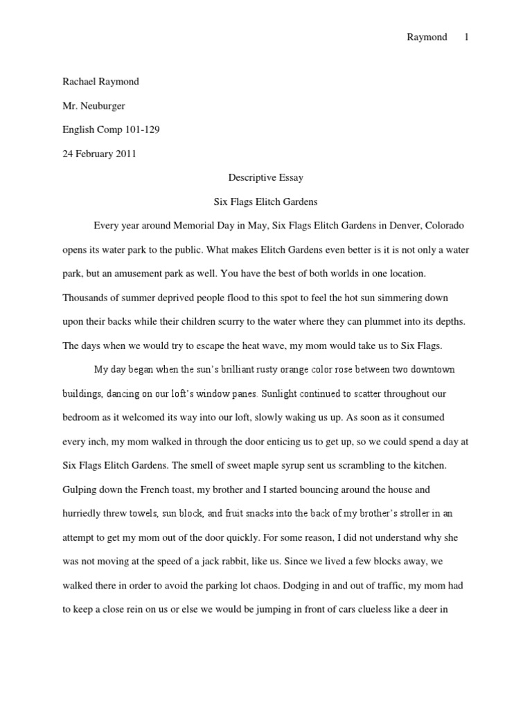 descriptive essay six flags nature