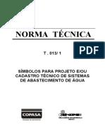 T-013-1 SIMBOLOS PARA PROJETO EOU CADASTRO TÉCNICO DE SISTEMAS DE ABASTECIMENTO DE ÁGUA