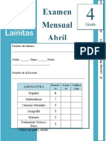 4to Grado - Examen Mensual Abril (2020-2021)
