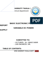 Variable Dc Power Supply Project Report