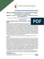Métodos Analíticos Utilizados para a Determinação de Lipídios