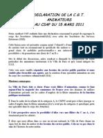 Déclaration animateurs csap mars 2011