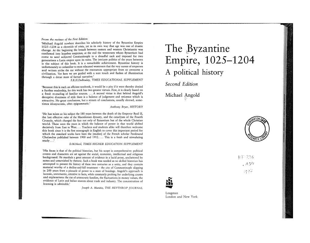 Byzantine Empire-Political History