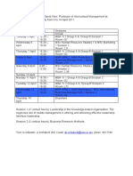 Timetable for visit of Prof David Weir