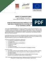 Appel a Candidatures Formation Des Jeunes Cycle 3