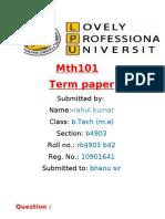 10901641 Termpaper MTH101 Term Paper Mth