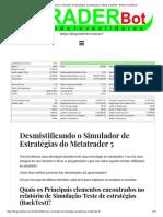 Desmistificando o Simulador de Estratégias do Metatrader 5