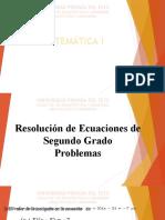 Ecuación de Segundo Grado - Problemas