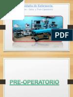 CUIDADOS DE ENFERMERIA EN EL PRE INTRA Y POST OPERATORIO