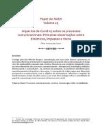 De Castro, 2020, Impactos da Covid-19 sobre os processos comunicacionais