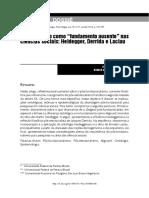 7. O fundamento como _fundamento ausente_ nas ciências sociais_ Heidegger, Derrida e Laclau