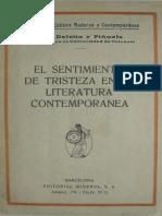 Deleito Y Pi工ela Jose - El Sentimiento de Tristeza en La Literatura Contemporanea