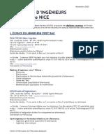 Adresses écoles ingénieurs Nice 2020