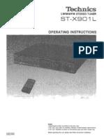 Technics ST-X901L Stereo AM/FM Tuner Manual
