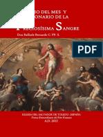 EJERCICIO DEL MES  Y DEVOCIONARIO DE LA PRECIOSÍSIMA SANGRE. Don Raffaele Bernardo C. PP. S.