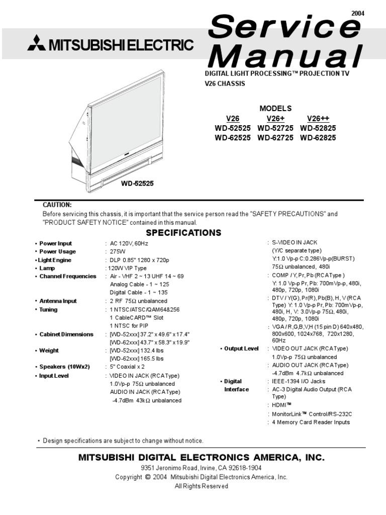 Wd 62725 Service Manual Mitsubishi Tv Wiring Diagram Repair Online Enthusiast Diagrams