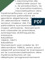 Sonatrach (acronyme de «Société nationale pour la recherche, la production…