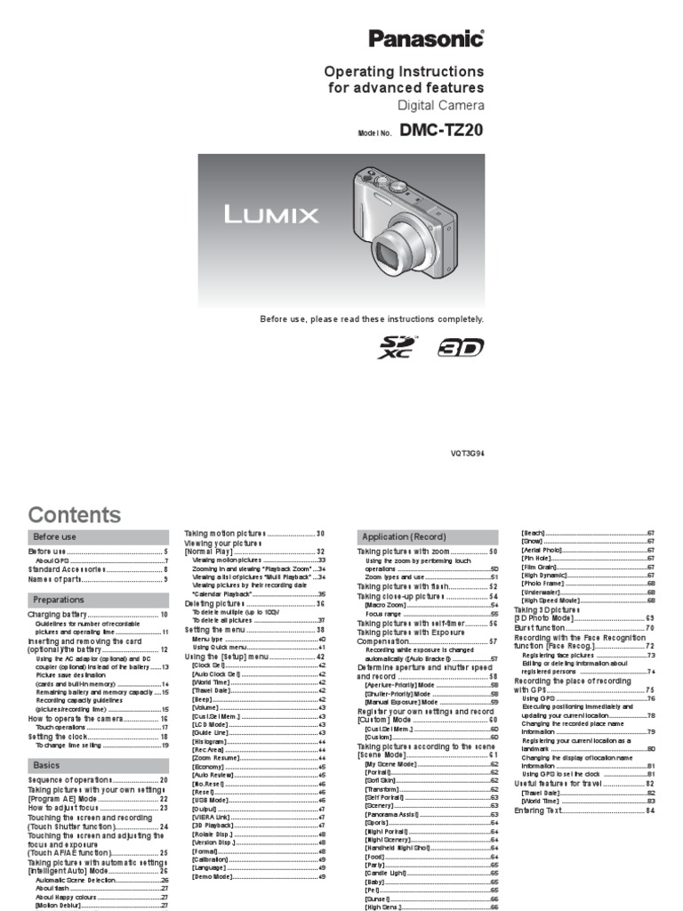 Panasonic Lumix TZ20 / ZS10 Operating Instructions (English) | Secure  Digital | Autofocus