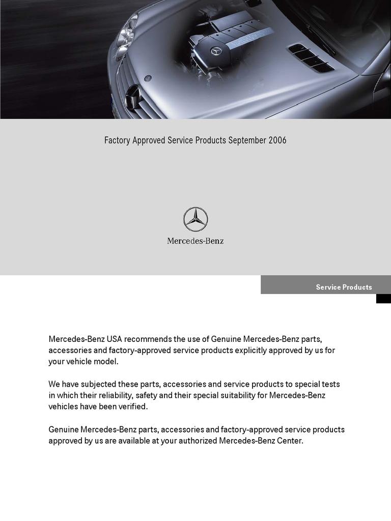 Mb 2006 Factoryapprovedserviceproducts Gasoline Motor Oil Mercedes Benz Fuel Additives