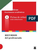 04 Fichas de Refuerzo Sin Soluciones. Matematicas Academicas 4 ESO Teide