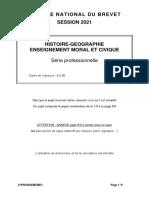 Brevet 2021 - Histoire-géographie - Série professionnelle