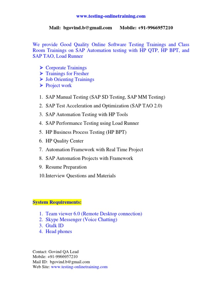 Online Testing on SAP TAO Trainings, BPT, TAO, Testing, QTP, Online ...