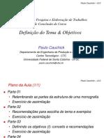 Curso Tcc Definiçao Do Tema e Objetivos