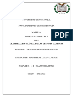 Clasificación Clínica de Las Lesiones Cariosas