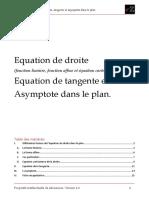 Fiche Math Equation de Droite Tangente Et Asymptote