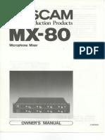 Tascam_MX-80_Owner's_Manual mode d'emploi