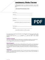 Free Promissory Note Forms