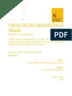 CLIMA SOCIAL FAMILIAR Y NIVEL DE HABILIDADES